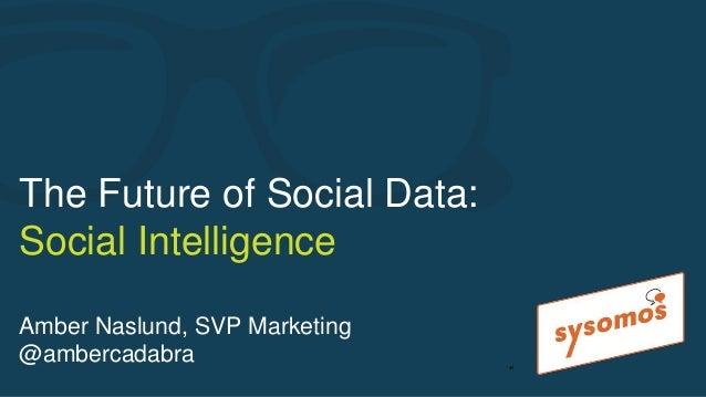 The Future of Social Data: Social Intelligence Amber Naslund, SVP Marketing @ambercadabra ●1
