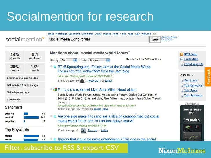 Socialmention for research Filter, subscribe to RSS & export CSV