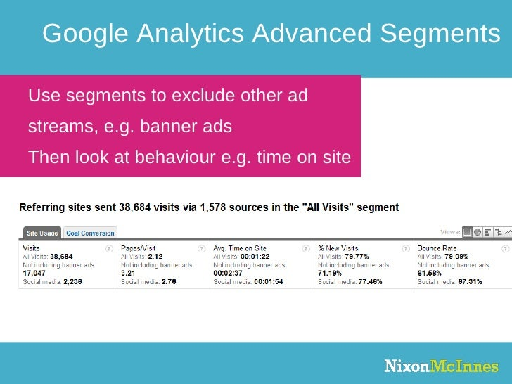 Google Analytics Advanced Segments Use segments to exclude other ad streams, e.g. banner ads Then look at behaviour e.g. t...