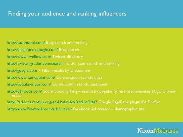 http://technorati.com/  Blog search and ranking http://blogsearch.google.com/  Blog search http://www.twellow.com/  Twitte...