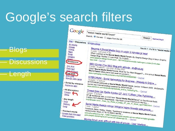 Google's search filters —  Blogs —  Discussions —  Length
