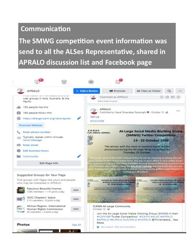 Communication The SMWG competition event information was send to all the ALSes Representative, shared in APRALO discussion...