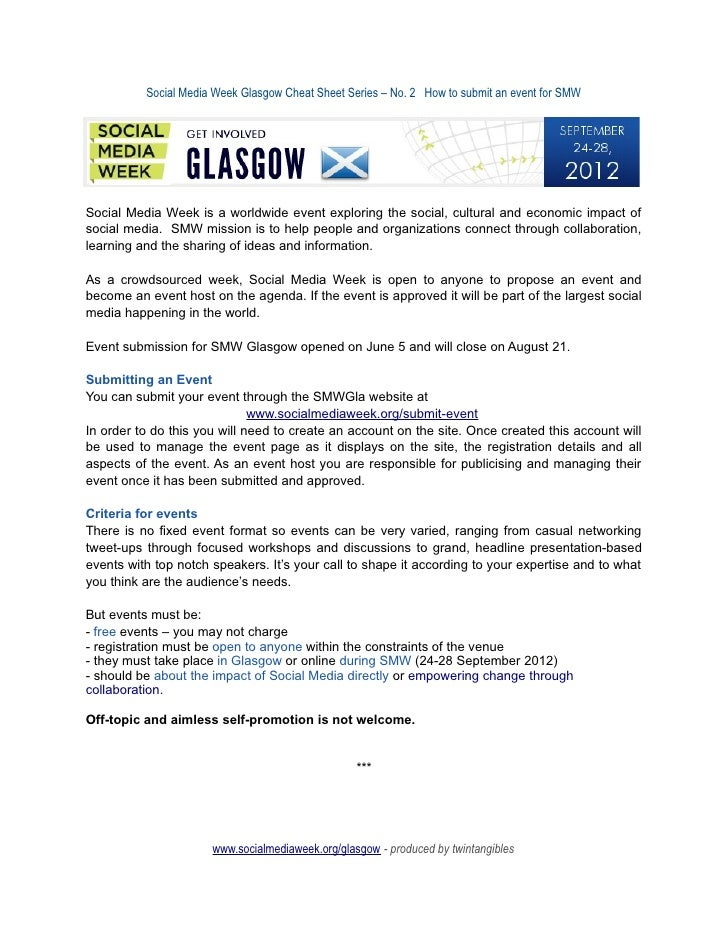Social Media Week Glasgow Cheat Sheet Series – No. 2 How to submit an event for SMWSocial Media Week is a worldwide event ...
