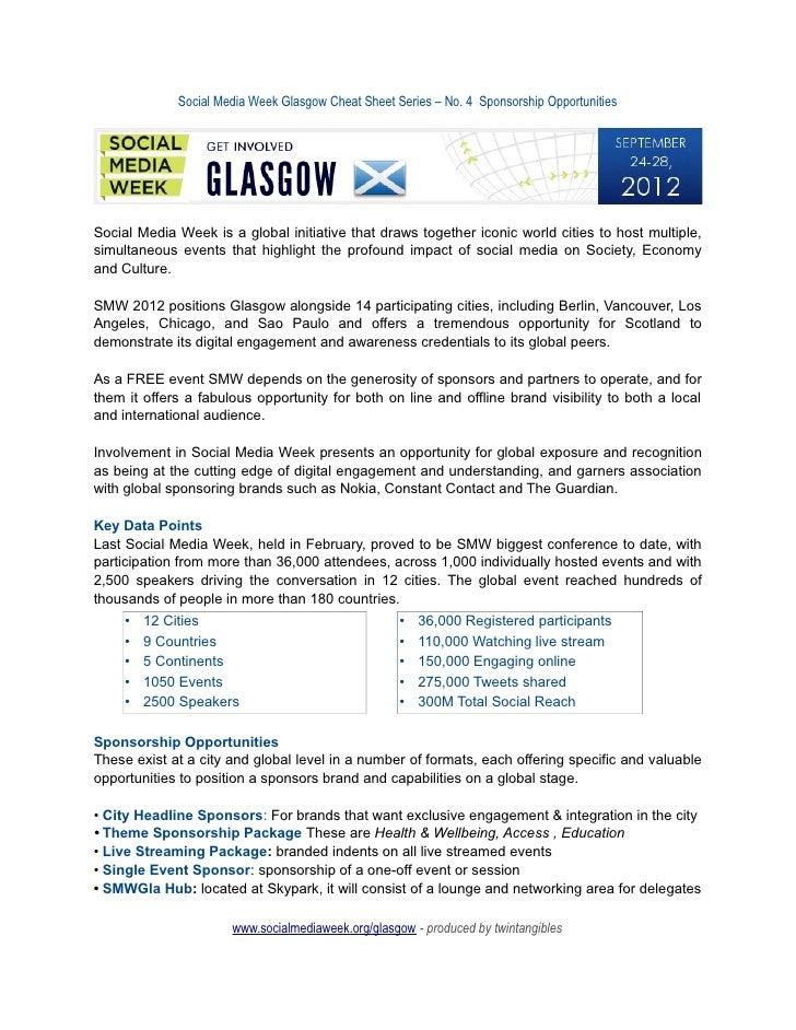 Social Media Week Glasgow Cheat Sheet Series – No. 4 Sponsorship OpportunitiesSocial Media Week is a global initiative tha...