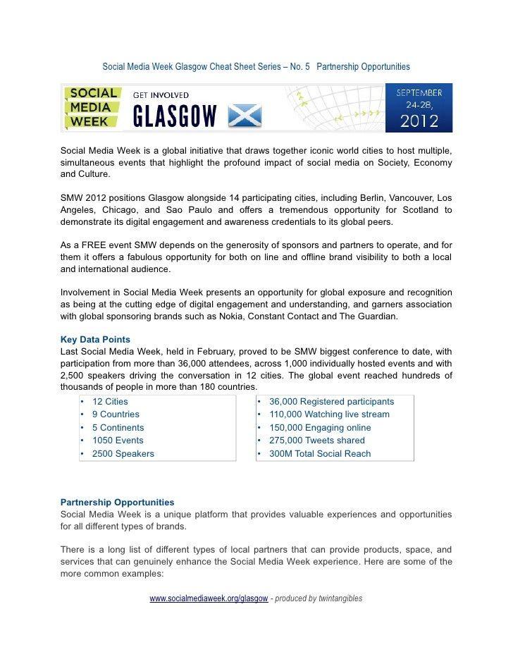 Social Media Week Glasgow Cheat Sheet Series – No. 5 Partnership OpportunitiesSocial Media Week is a global initiative tha...