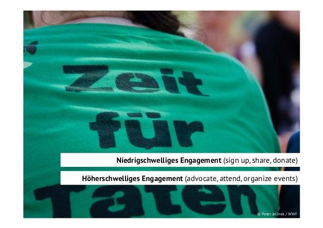 Niedrigschwelliges Engagement (sign up, share, donate) Höherschwelliges Engagement (advocate, attend, organize events)  © ...