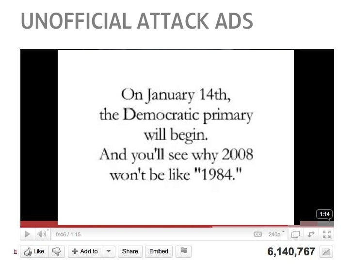 unofficial attack ads<br />http://www.youtube.com/watch?v=6h3G-lMZxjo<br />