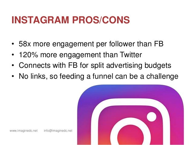 www.imaginedc.net info@imaginedc.net @wefightugly INSTAGRAM PROS/CONS • 58x more engagement per follower than FB • 120% mo...
