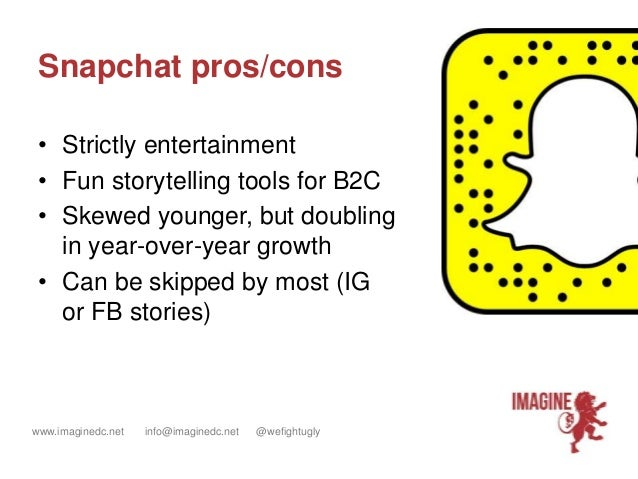 www.imaginedc.net info@imaginedc.net @wefightugly Snapchat pros/cons • Strictly entertainment • Fun storytelling tools for...