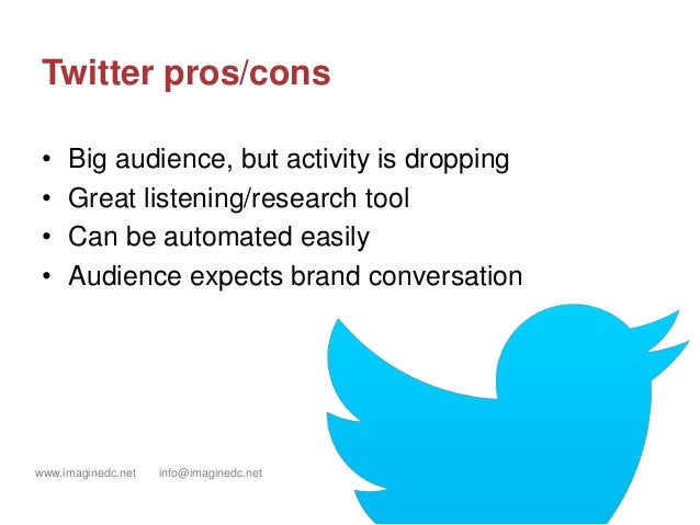 www.imaginedc.net info@imaginedc.net @wefightugly Twitter pros/cons • Big audience, but activity is dropping • Great liste...