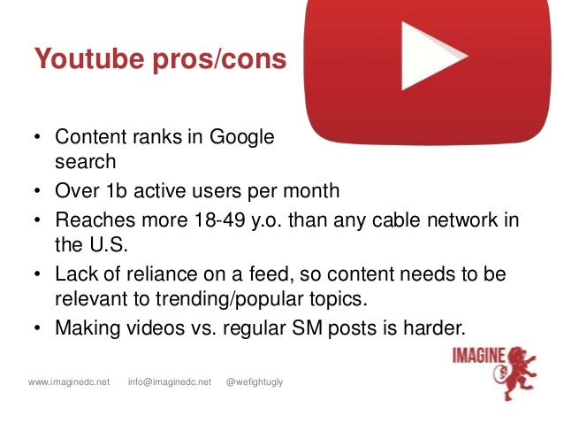 www.imaginedc.net info@imaginedc.net @wefightugly Youtube pros/cons • Content ranks in Google search • Over 1b active user...