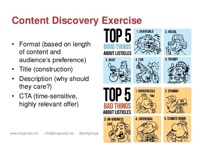 www.imaginedc.net info@imaginedc.net @wefightugly Content Discovery Exercise • Format (based on length of content and audi...