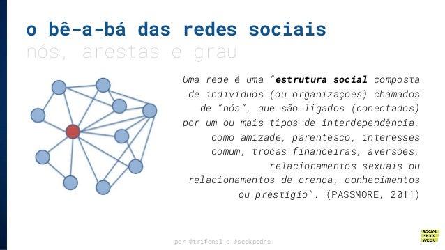 """o bê-a-bá das redes sociais nós, arestas e grau por @trifenol e @seekpedro Uma rede é uma """"estrutura social composta de in..."""