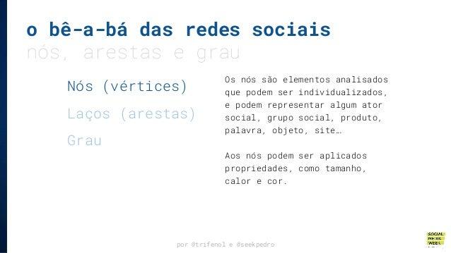 o bê-a-bá das redes sociais nós, arestas e grau por @trifenol e @seekpedro Os nós são elementos analisados que podem ser i...