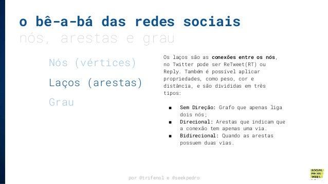 o bê-a-bá das redes sociais nós, arestas e grau por @trifenol e @seekpedro Os laços são as conexões entre os nós, no Twitt...