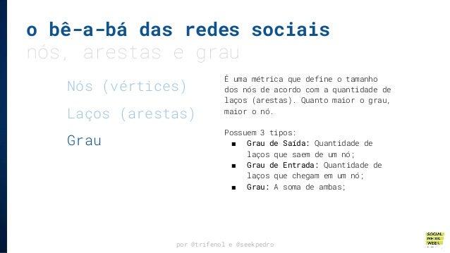 o bê-a-bá das redes sociais nós, arestas e grau por @trifenol e @seekpedro É uma métrica que define o tamanho dos nós de a...