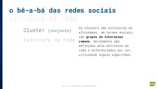 o bê-a-bá das redes sociais estrutura da rede por @trifenol e @seekpedro Os clusters são estruturas de afinidades, em term...
