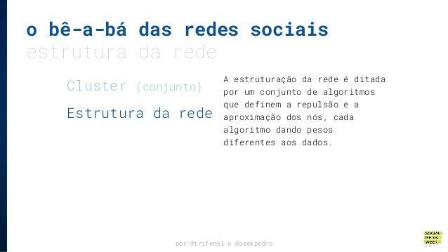 o bê-a-bá das redes sociais estrutura da rede por @trifenol e @seekpedro A estruturação da rede é ditada por um conjunto d...