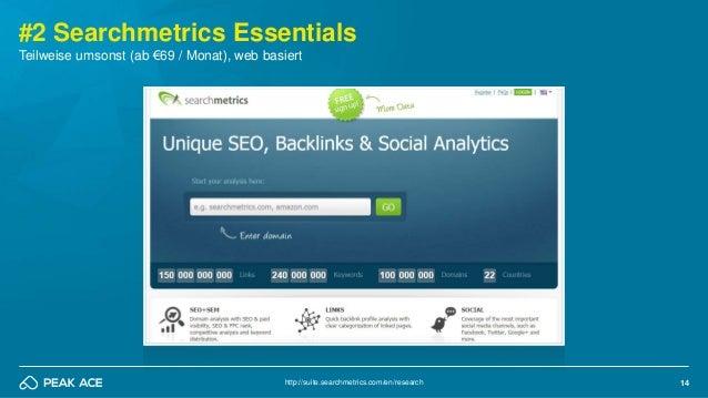 14 #2 Searchmetrics Essentials http://suite.searchmetrics.com/en/research Teilweise umsonst (ab €69 / Monat), web basiert