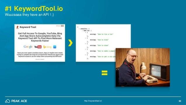 30 #1 KeywordTool.io http://keywordtool.io/ Wuuzaaaa they have an API ! ;)
