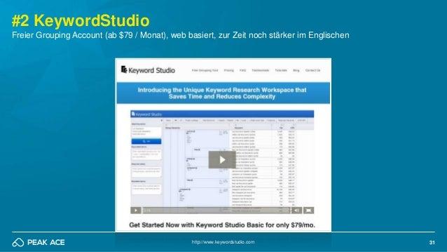 31 #2 KeywordStudio http://www.keywordstudio.com Freier Grouping Account (ab $79 / Monat), web basiert, zur Zeit noch stär...