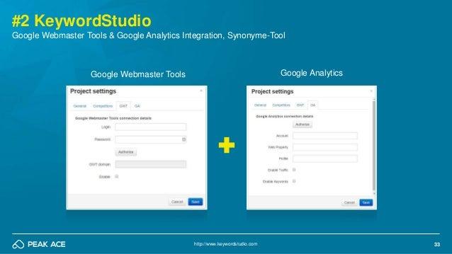 33 #2 KeywordStudio http://www.keywordstudio.com Google Webmaster Tools & Google Analytics Integration, Synonyme-Tool Goog...