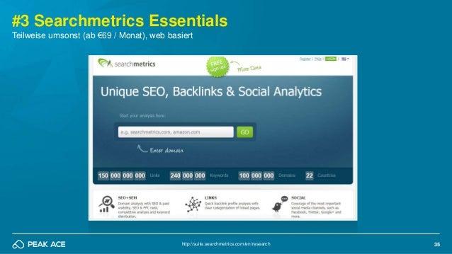 35 #3 Searchmetrics Essentials http://suite.searchmetrics.com/en/research Teilweise umsonst (ab €69 / Monat), web basiert