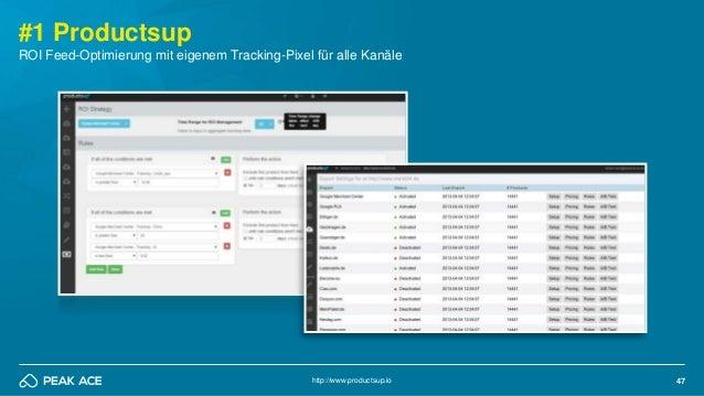 47 #1 Productsup http://www.productsup.io ROI Feed-Optimierung mit eigenem Tracking-Pixel für alle Kanäle