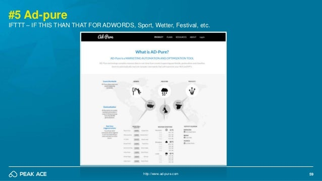 59 #5 Ad-pure http://www.ad-pure.com IFTTT – IF THIS THAN THAT FOR ADWORDS, Sport, Wetter, Festival, etc.