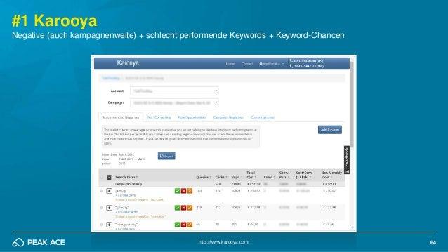 64 #1 Karooya http://www.karooya.com/ Negative (auch kampagnenweite) + schlecht performende Keywords + Keyword-Chancen