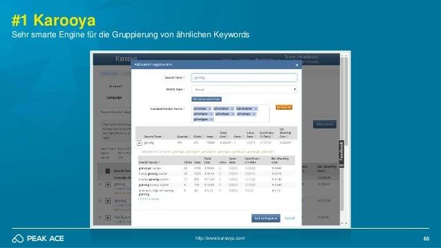65http://www.karooya.com/ #1 Karooya Sehr smarte Engine für die Gruppierung von ähnlichen Keywords