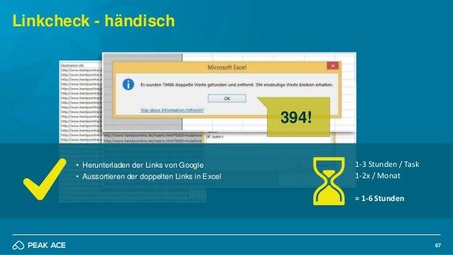 67 Linkcheck - händisch 394! • Herunterladen der Links von Google • Aussortieren der doppelten Links in Excel 1-3 Stunden ...