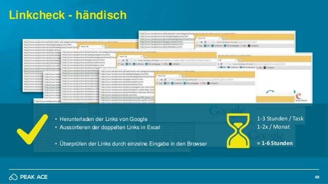 68 Linkcheck - händisch • Herunterladen der Links von Google • Aussortieren der doppelten Links in Excel • Überprüfen der ...