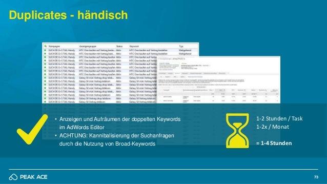 73 Duplicates - händisch • Anzeigen und Aufräumen der doppelten Keywords im AdWords Editor • ACHTUNG: Kannibalisierung der...