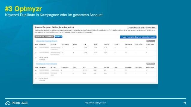 74 #3 Optmyzr Keyword-Duplikate in Kampagnen oder im gesamten Account http://www.optmyzr.com