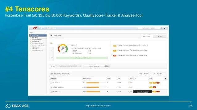 77 #4 Tenscores http://www.Tenscores.com/ kostenlose Trail (ab $25 bis 50,000 Keywords), Qualityscore-Tracker & Analyse-To...