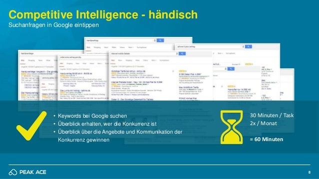 8 Competitive Intelligence - händisch Suchanfragen in Google eintippen • Keywords bei Google suchen • Überblick erhalten, ...