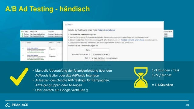 80 A/B Ad Testing - händisch • Manuelle Überprüfung der Anzeigenleistung über den AdWords Editor oder das AdWords Interfac...
