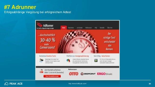 84 #7 Adrunner http://www.AdAlysis.com/ Erfolgsabhänige Vergütung bei erfolgreichem Adtest