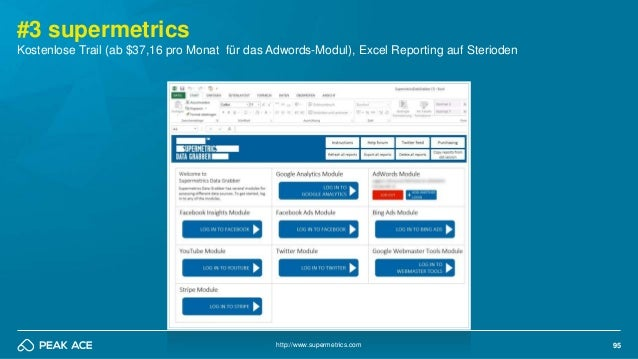 95 #3 supermetrics http://www.supermetrics.com Kostenlose Trail (ab $37,16 pro Monat für das Adwords-Modul), Excel Reporti...