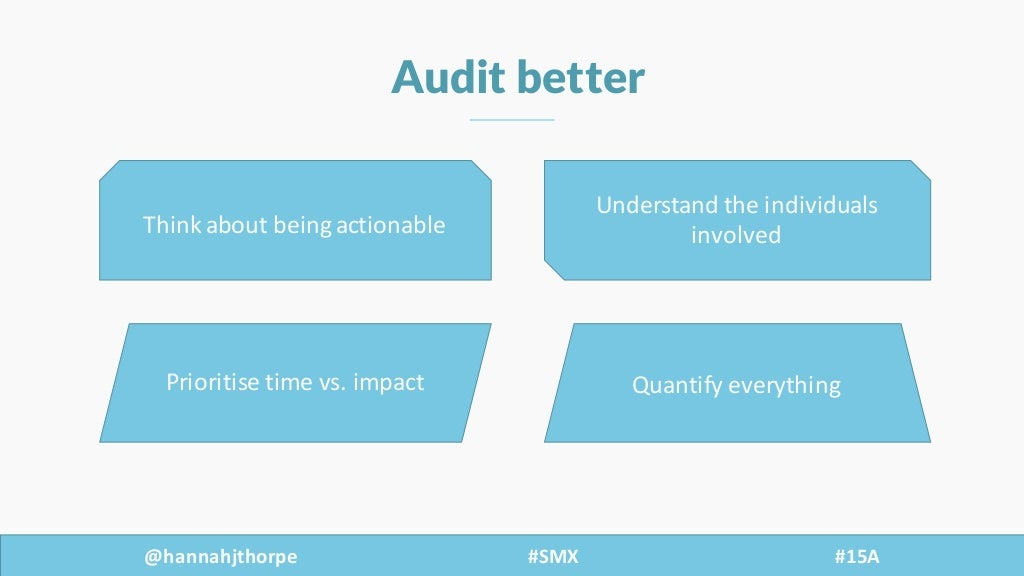 @hannahjthorpe #SMX     #15A Audit better Think  about  being  actionable Understand  the  individuals   i...