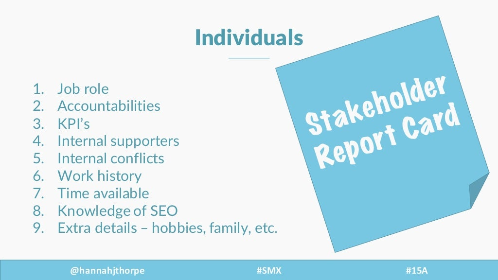 @hannahjthorpe #SMX     #15A Individuals 1. Job  role 2. Accountabilities 3. KPI's   4. Internal  supporters 5. Intern...