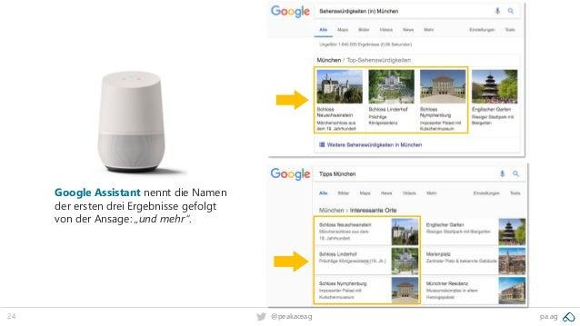 """24 pa.ag@peakaceag Google Assistant nennt die Namen der ersten drei Ergebnisse gefolgt von der Ansage: """"und mehr""""."""