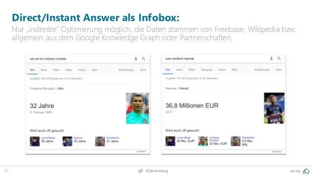 """35 pa.ag@peakaceag Direct/Instant Answer als Infobox: Nur """"indirekte"""" Optimierung möglich, die Daten stammen von Freebase,..."""