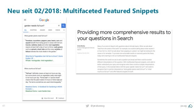 41 pa.ag@peakaceag Neu seit 02/2018: Multifaceted Featured Snippets