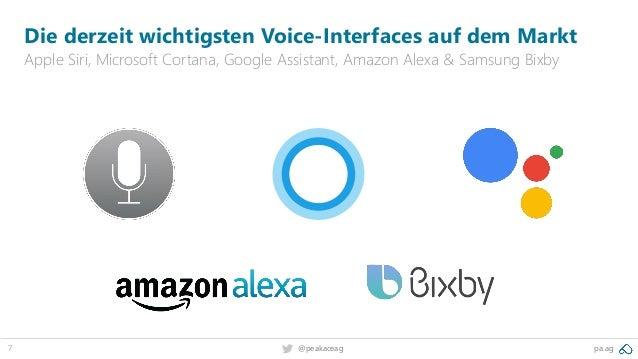 7 pa.ag@peakaceag Die derzeit wichtigsten Voice-Interfaces auf dem Markt Apple Siri, Microsoft Cortana, Google Assistant, ...
