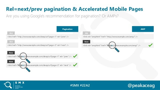 #SMX #22A2 @peakaceag Rel=next/prev pagination & Accelerated Mobile Pages Are you using Google's recommendation for pagina...