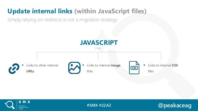 #SMX #22A2 @peakaceag Update internal links (within JavaScript files) Simply relying on redirects is not a migration strat...