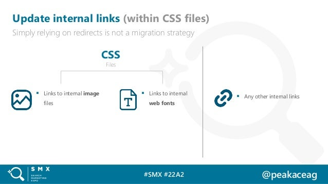 #SMX #22A2 @peakaceag Update internal links (within CSS files) Simply relying on redirects is not a migration strategy ▪ L...