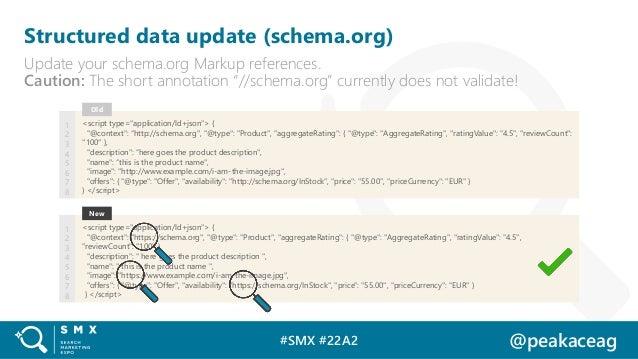 #SMX #22A2 @peakaceag Structured data update (schema.org) Update your schema.org Markup references. Caution: The short ann...